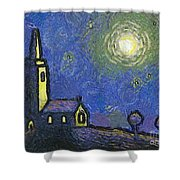 Starry Church Shower Curtain by Pixel Chimp