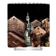 Starry Night Above The Rooftops Of Korcula Shower Curtain