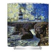 Starry Hook Head Lighthouse Shower Curtain