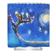 Starry Tree Shower Curtain by Pixel  Chimp