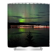 Stars And Northern Lights Over Dark Road At Lake Shower Curtain