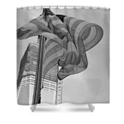 Stars And Stripes And 1 W T C In Black And White Shower Curtain