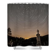 Stars Trails Over Cemetery Shower Curtain