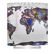 Stars World Map Shower Curtain
