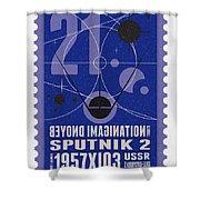 Starschips 21- Poststamp - Sputnik 2 Shower Curtain by Chungkong Art