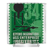 Starschips 34-poststamp - Uss Enterprise Shower Curtain by Chungkong Art