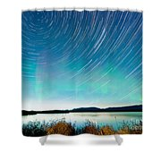 Startrails Aurora Borealis Display Lake Laberge Shower Curtain