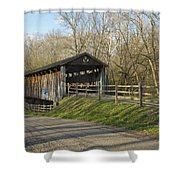State Line Or Bebb Park Covered Bridge Shower Curtain by Jack R Perry
