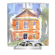 Stately Courthouse With Police Car Shower Curtain