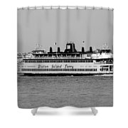 Staten Island Ferry In Black And White Shower Curtain