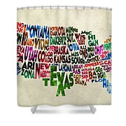 States Of United States Typographic Map - Parchment Style Shower Curtain