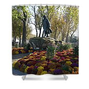 Statue And Flower Bed Across The Street From The Grand Palais Off Of Champs Elysees Shower Curtain