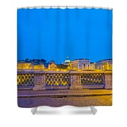 Statue And Street Lamp Shower Curtain