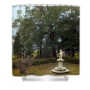 Statue And Tree Shower Curtain
