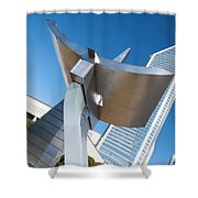 Statue At Charlotte City Street Entrance On North Tryon Shower Curtain