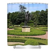 Statue In A Boxwood Garden Shower Curtain
