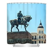 Statue In Montevideo Uruguay Shower Curtain