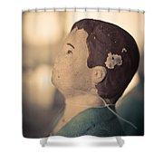 Statue Of A Boy Praying Shower Curtain