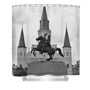 Statue Of Andrew Jackson In Black And White Shower Curtain