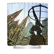 Statue Of Atlas Facing St.patrick's Cathedral Shower Curtain