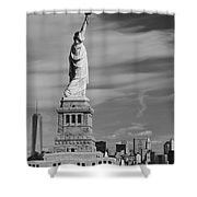 Statue Of Liberty And The Freedom Tower Shower Curtain