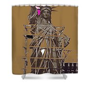 Statue Of Liberty Being Built 1876-1881 Paris Collage Pierre Petit                     Shower Curtain