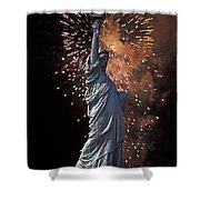 Statue Of Liberty Fireworks Shower Curtain