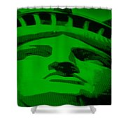Statue Of Liberty In Green Shower Curtain