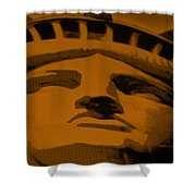Statue Of Liberty In Orange Shower Curtain