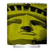 Statue Of Liberty In Yellow Shower Curtain by Rob Hans