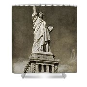 Statue Of Liberty Sepia Shower Curtain