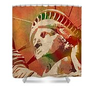 Statue Of Liberty Watercolor Portrait No 1 Shower Curtain