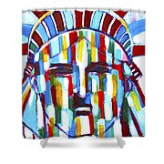 Statue Of Liberty With Colors Shower Curtain