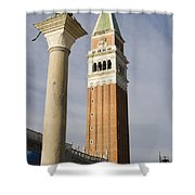 Statue Of Lion Of St. Mark And The San Marco Bell Tower Shower Curtain