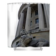 Statue Outside Of Federal Trade Commission Shower Curtain