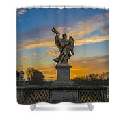 Statue With Cross Shower Curtain