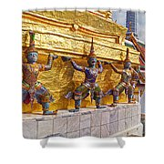Statues At A Temple, Wat Phra Kaeo Shower Curtain
