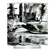 Ste Marie Du Lac Pond And Parish Shower Curtain