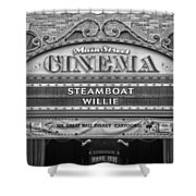 Steam Boat Willie Signage Main Street Disneyland Bw Shower Curtain