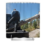 Steam Engine 489 At The Watering At Sublette Station On The Cumbres And Toltec Rr Shower Curtain