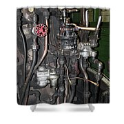 Steam Engine Controls Shower Curtain