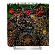 Steam Locamotive Controls Shower Curtain