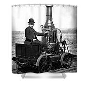 Steam Powered Rail Cart C. 1892 Shower Curtain