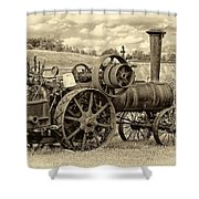 Steam Powered Tractor Sepia Shower Curtain