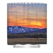 Steamboat Alpenglow Shower Curtain by Matt Helm