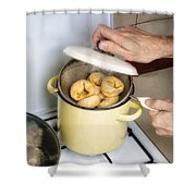 Steamed Pelmeny Shower Curtain