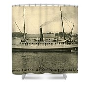 Steamer Eureka At Old Whaf Santa Cruz California Circa 1907 Shower Curtain