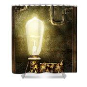 Steampunk - Alphabet - L Is For Light Bulb Shower Curtain