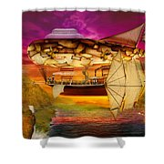 Steampunk - Blimp - Everlasting Wonder Shower Curtain by Mike Savad