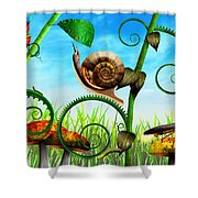Steampunk - Bugs - Evolution Take Time Shower Curtain